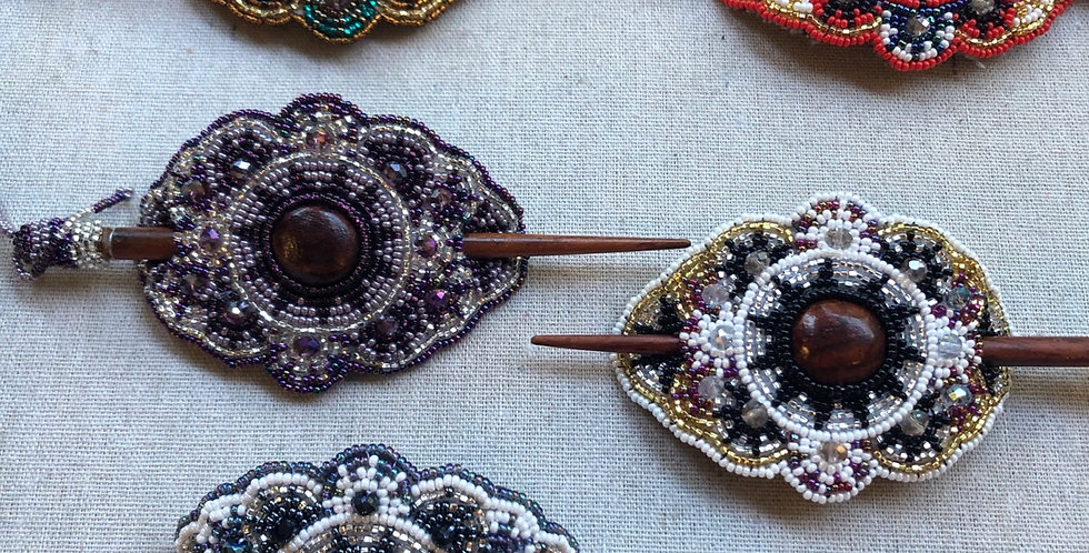 Intricate Beaded Hair Barrettes