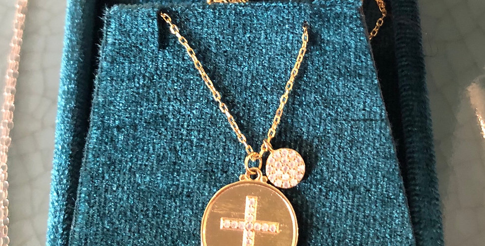 14karat plates crucifix with tiny Cubic zirconium