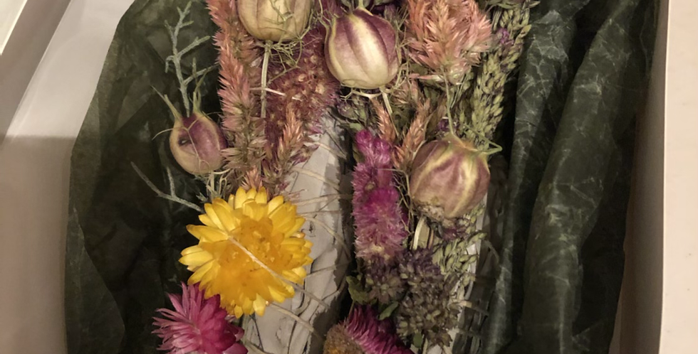Two Floral smudge Wands in window box