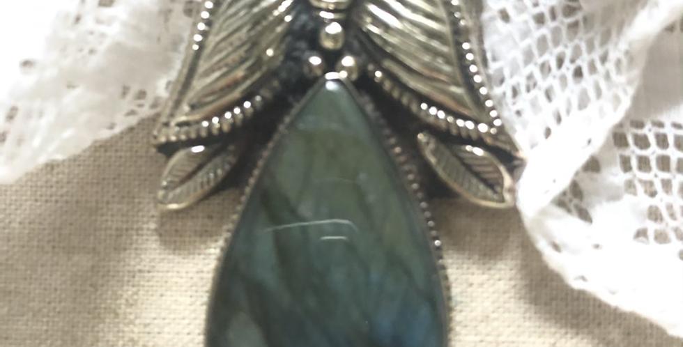 Butterfly Labordorite Silver Pendant