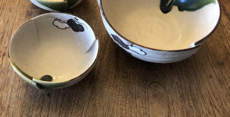 JapaNese Folded Ceramic Bowl Set