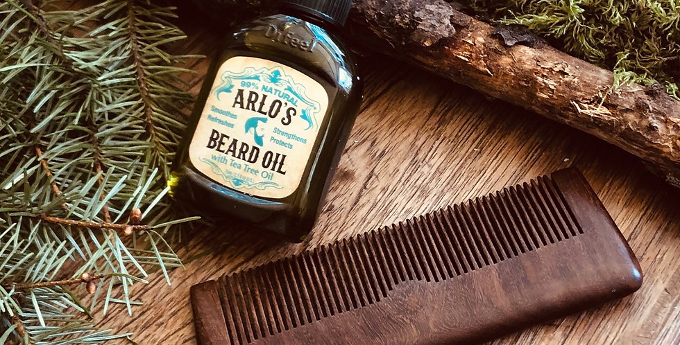 Beard Oil & Sandalwood Comb Set