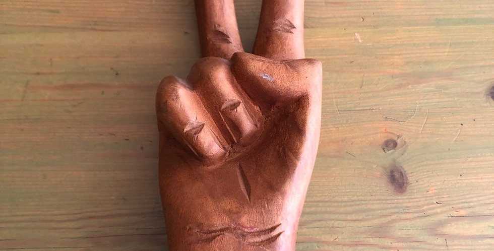 Rare Authentic vintage HANDCARVED Peace Hand