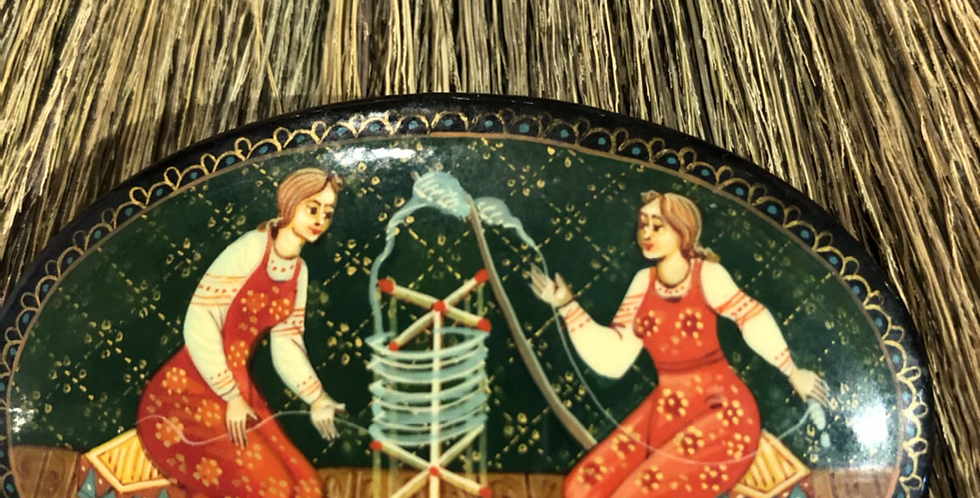 Sisters Spinning. Delicate Handpainted Sweater Pin