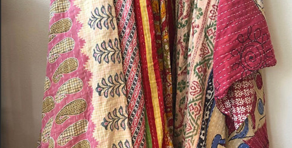 Indian Recycled SaRi cotton Fair trade twin blankets