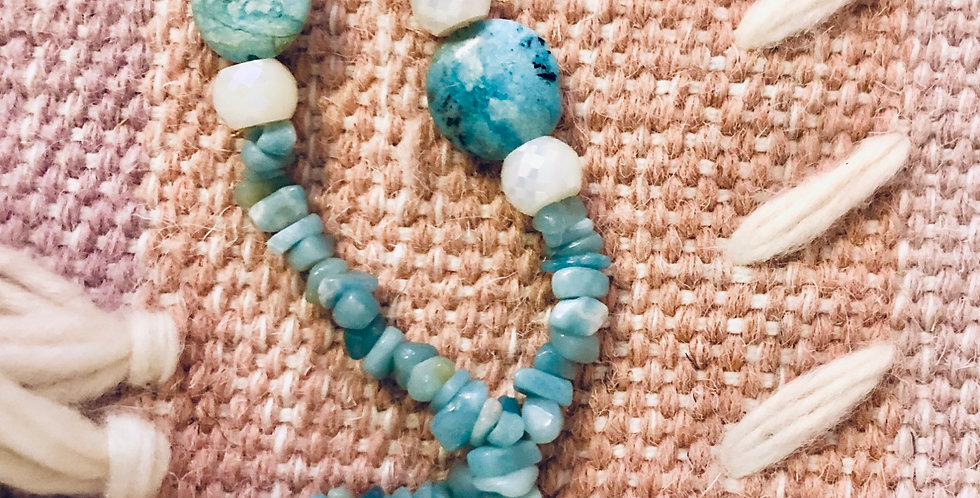 Rare LARIMAR stone and fauceted Moonstones