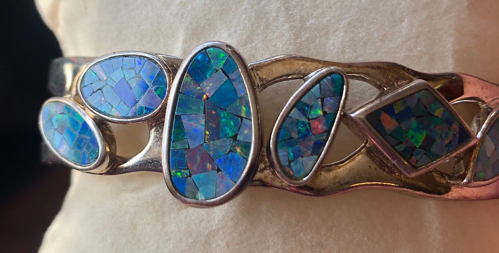 Opal Brutalist Handcrafted Cuff