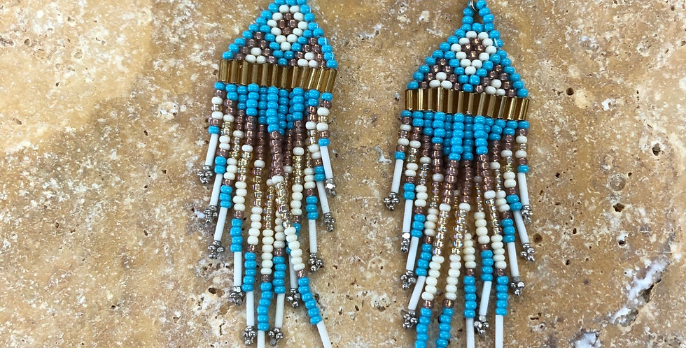 Turquoise Waterfall Beaded Earrings
