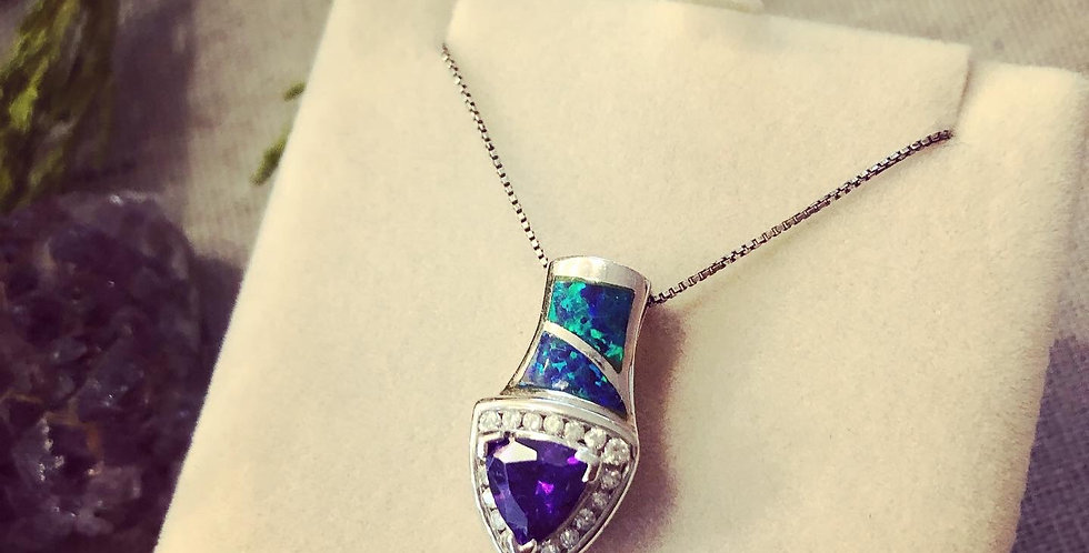 Amethyst and Opal and Cubic zirconium Necklace