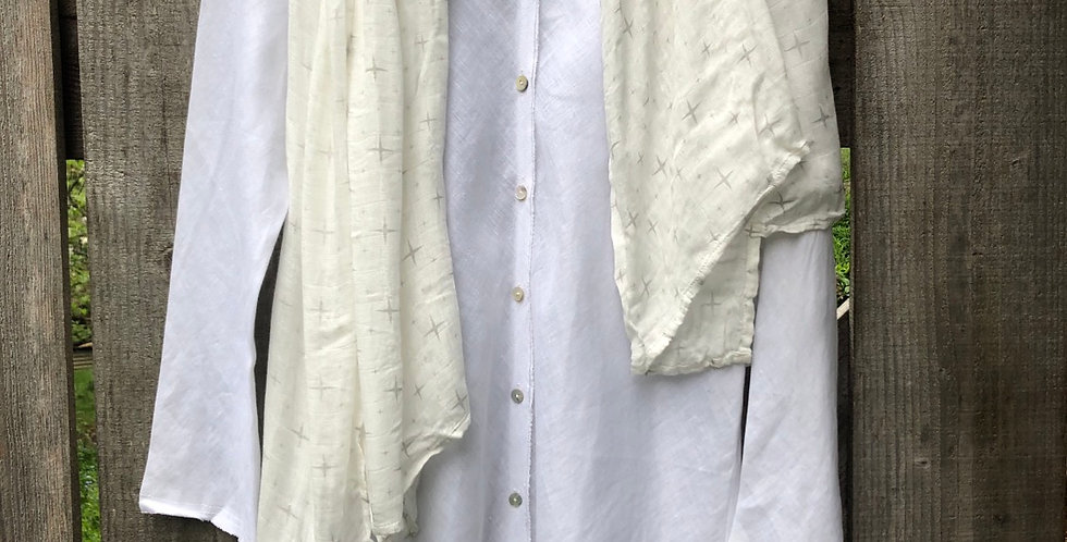 Small Long Linen rough Edged Blouse