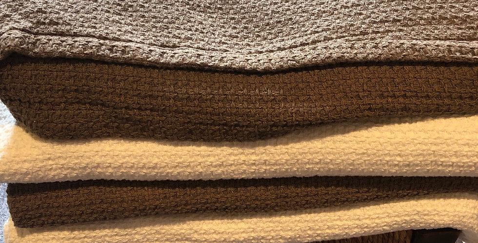 All cotton earthy Warm Waffle blankets
