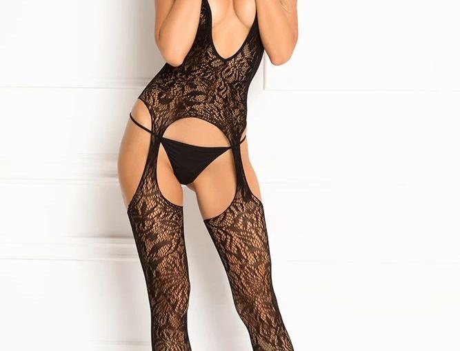 Black Lace Seduction Bodystocking