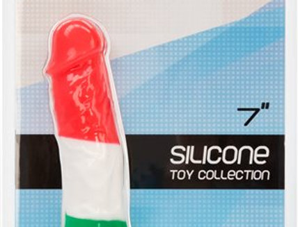 """Leonardo 7"""" Suction Cup Dildo With Balls, Red, White, Green"""