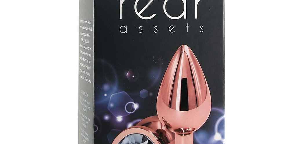 Medium Aluminum Plug with Clear Gem in Rose Gold ns novelties