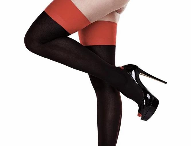 Opaque Black & Red Cuban Heel Thigh Highs
