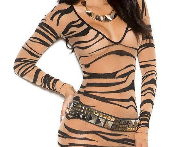 Zebra Mesh Mini Dress