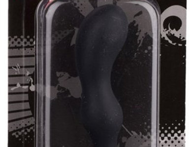 100% Silicone Smiling Butt Plug - P-Spot, Black