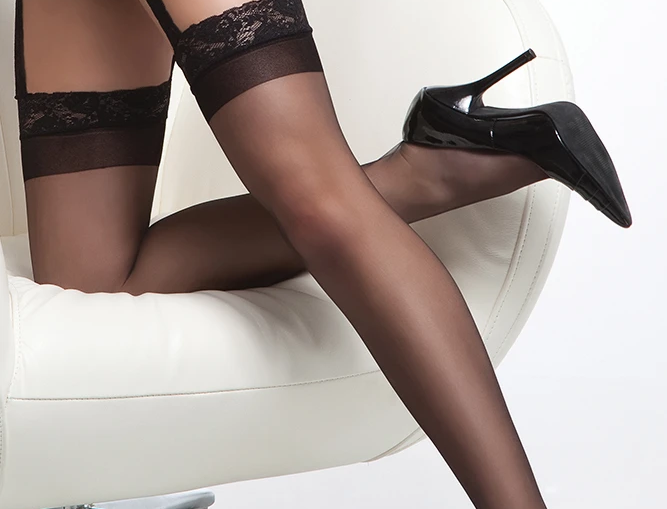 sheer thigh high stocking with lace garter belt