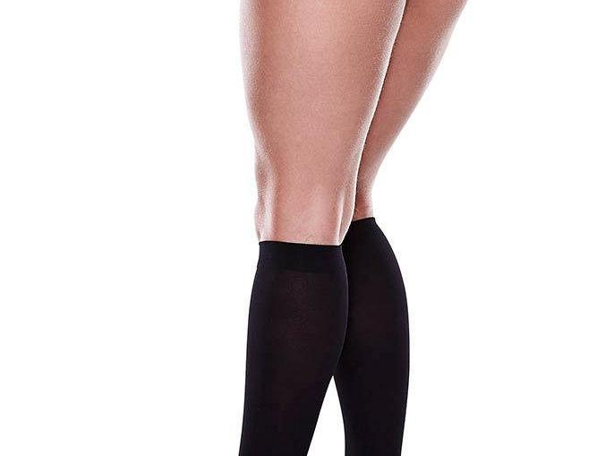 Sheer Black Knee Highs back view