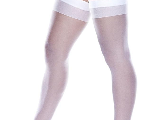 Sheer White Thigh Highs with Backseam