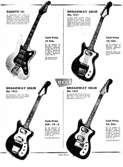 Broadway guitars from Bell Music catalogue