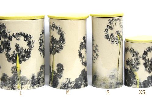 Boîte en grès (ceramique) Pissenlit Souffle de la taille XS à L