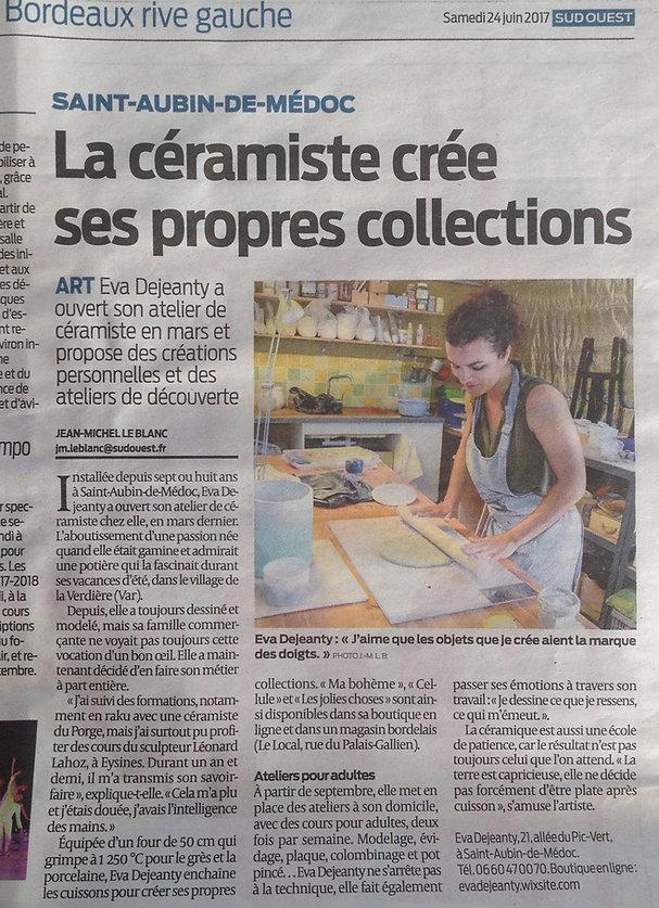 Sud-Ouest : atelier de céramique modelée Eva Dejeanty
