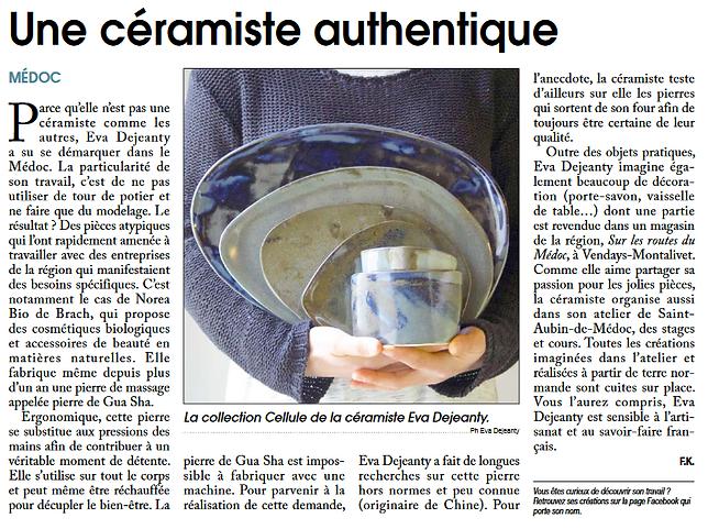 Une céramiste authentique - article du courrier du médoc