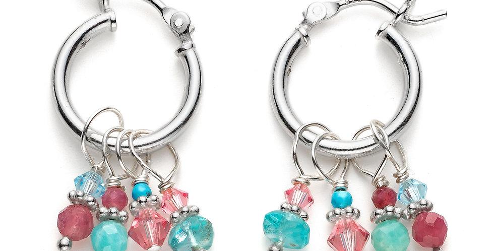 Pink and Blue Cluster Hoop Earrings