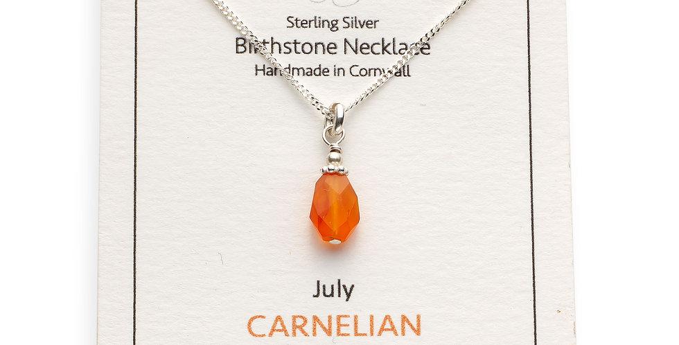 July Birthstone Necklace - Carnelian
