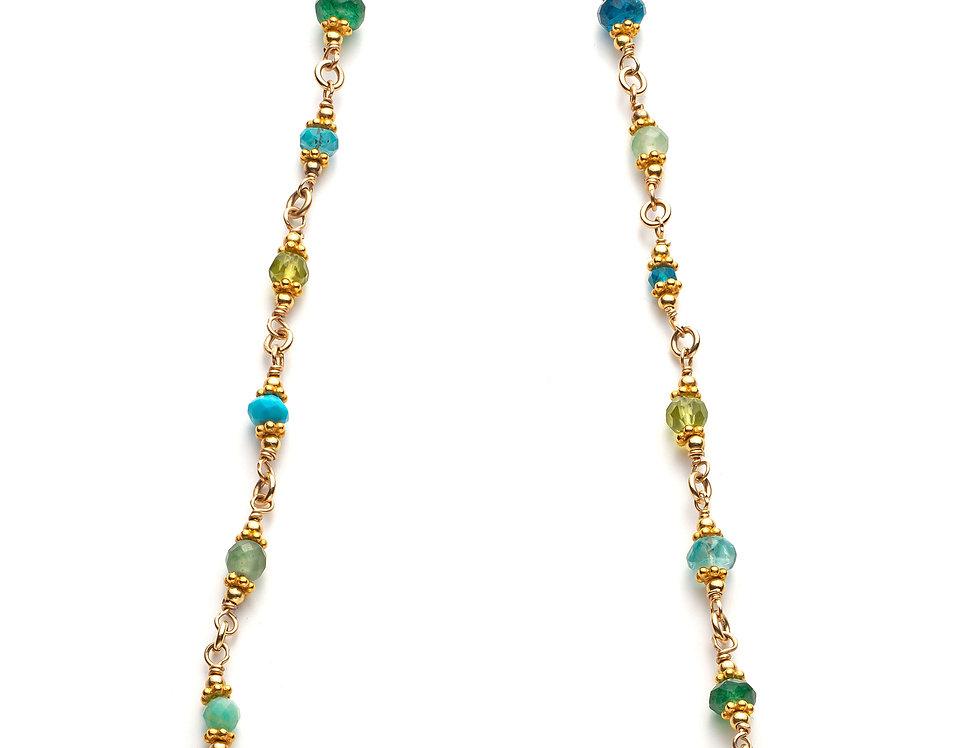 Gold Woven Gemstone Necklace - Aqua