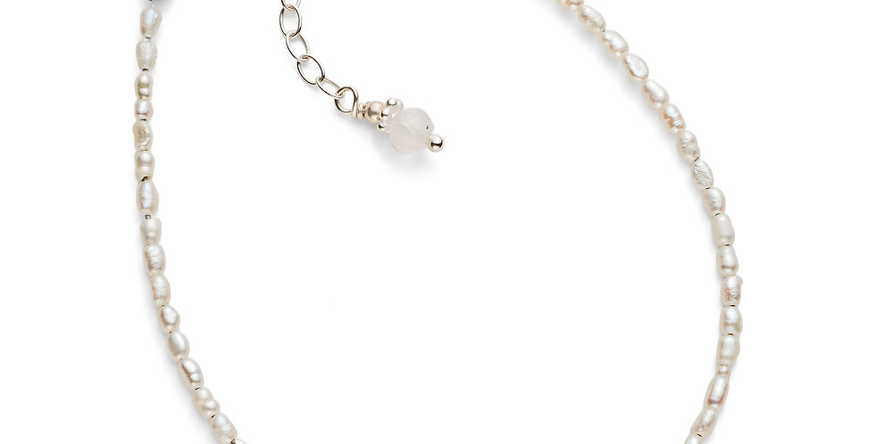 Faceted Pearl and Moonstone Bracelet