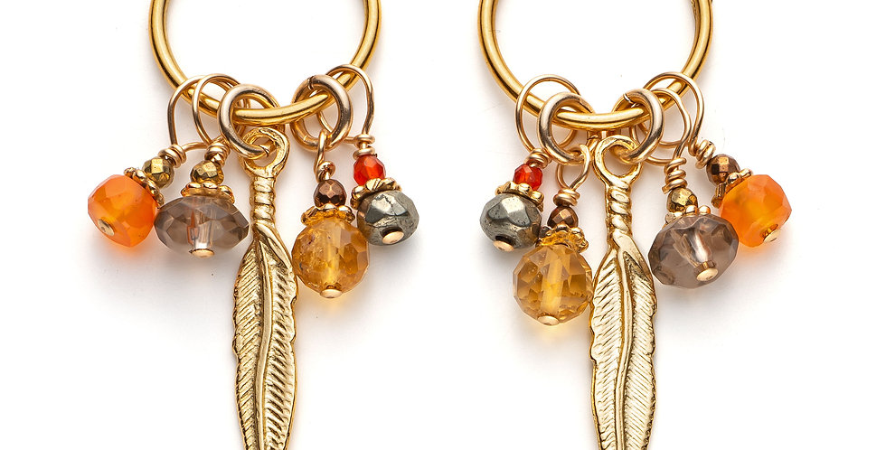 Gold Carnelian and Citrine Cluster Hoops