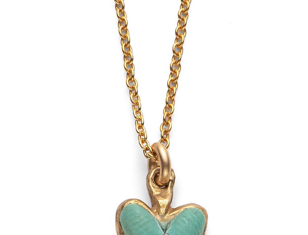 Pale Turquoise/Aqua Affirmation Heart - Gold