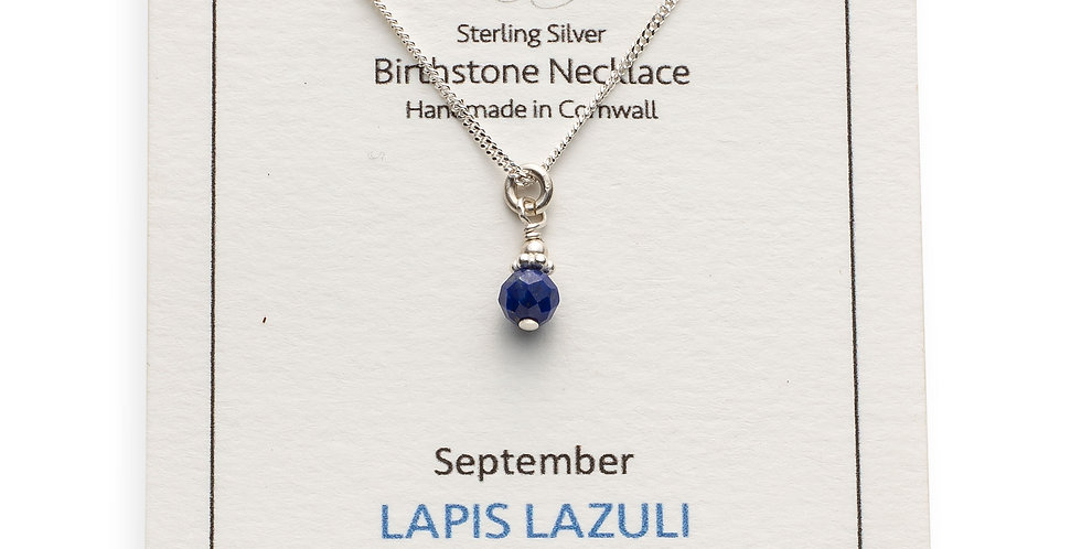 September Birthstone Necklace - Lapis Lazuli