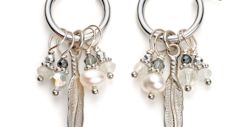 Sterling Silver and Pearl Cluster Hoops