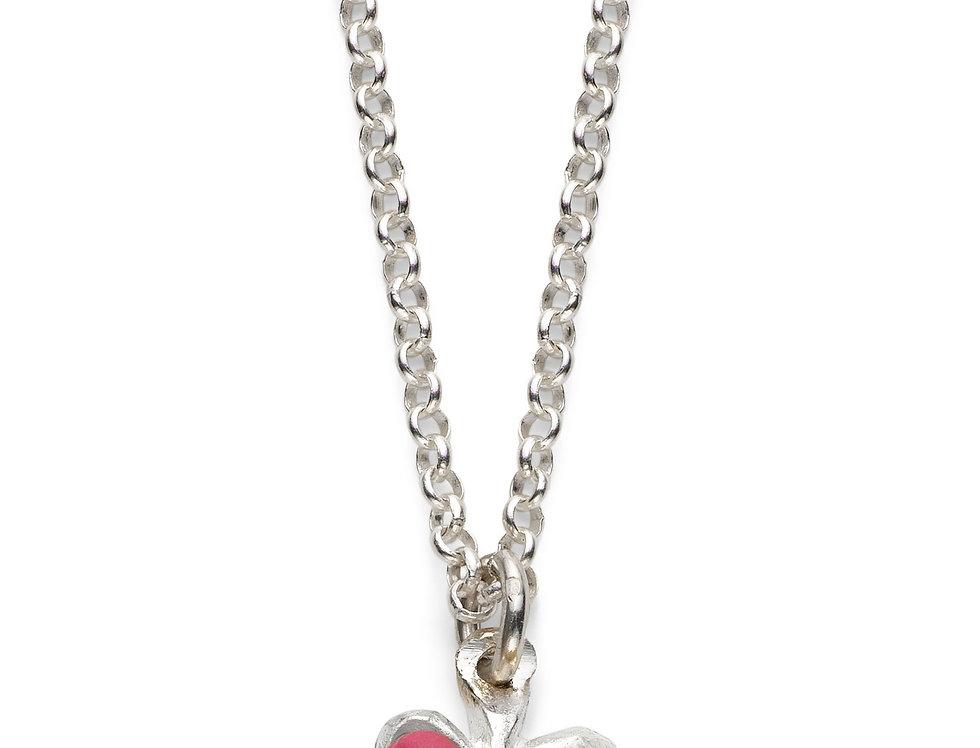 Fuchsia Affirmation Heart - Silver