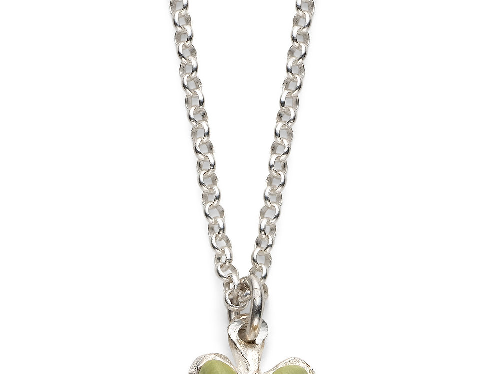 Pistachio/Fuchsia Affirmation Heart - Silver