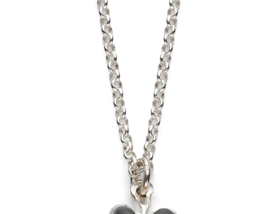 Charcoal Affirmation Heart - Silver