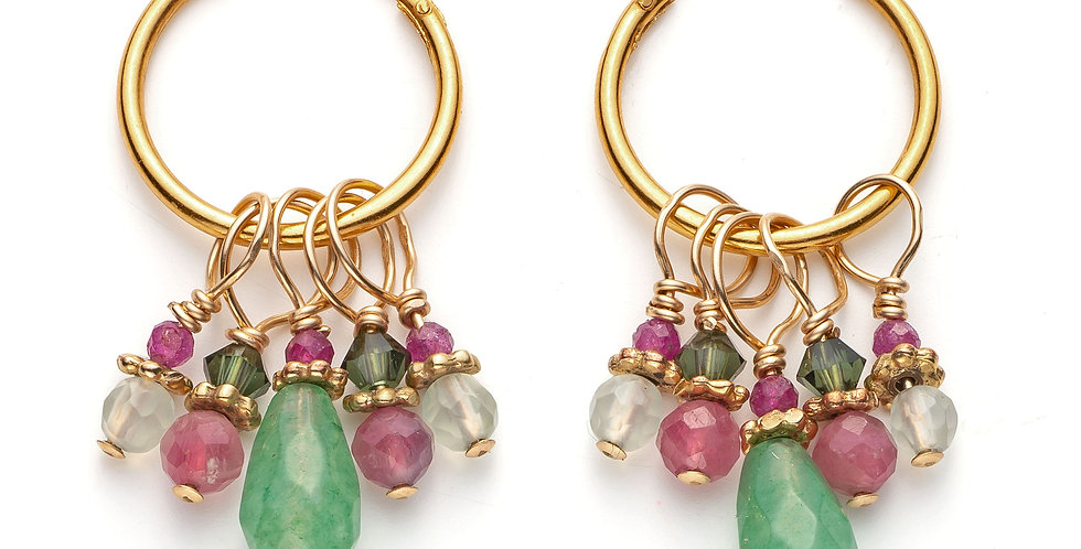 Gold Pippin Cut Aventurine Cluster Hoops