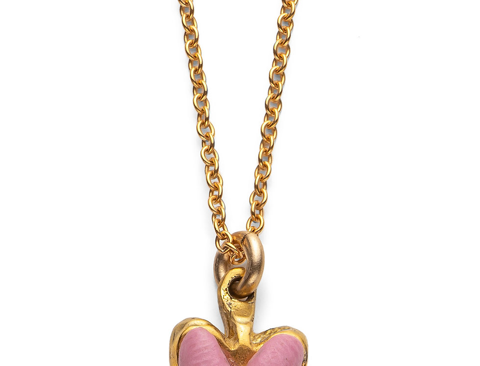 Pink Affirmation Heart - Gold