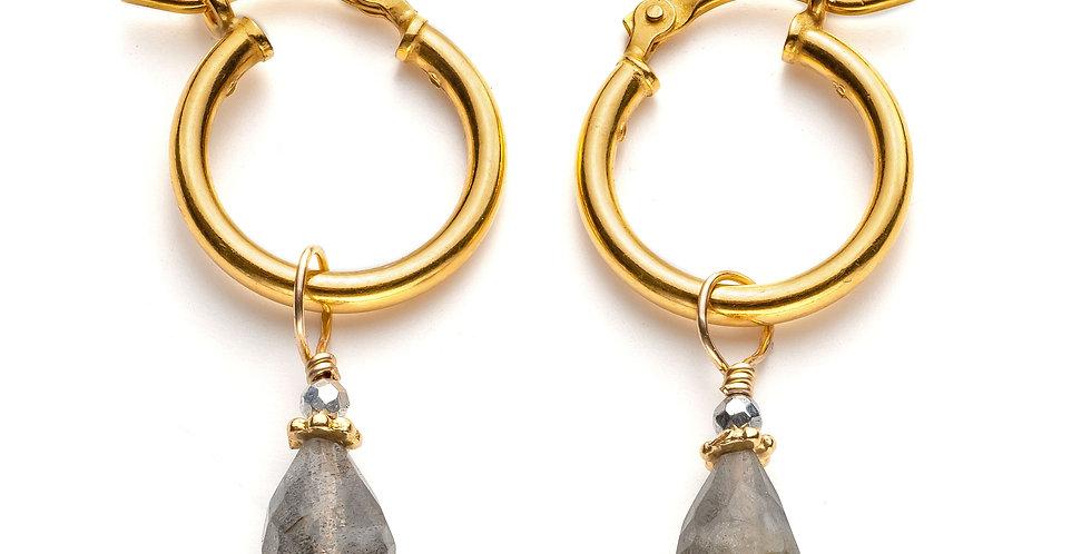 Gold Labradorite Hoops