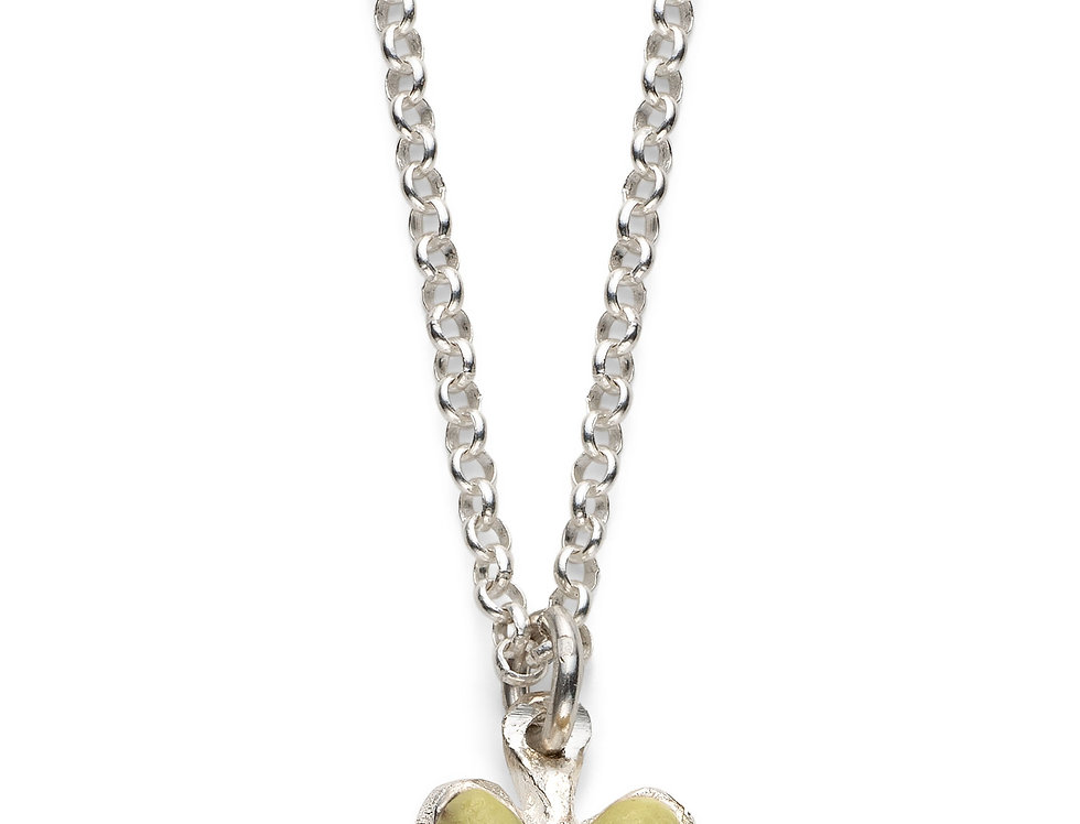 Pistachio/Aqua Affirmation Heart - Silver