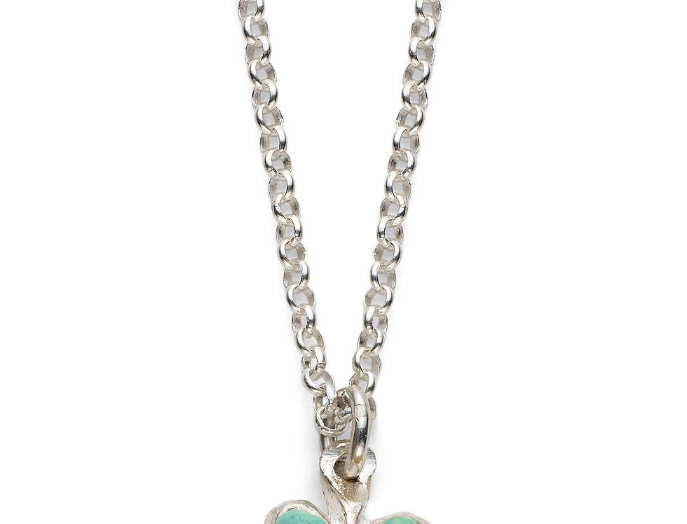 Pale Turquoise Affirmation Heart -Silver
