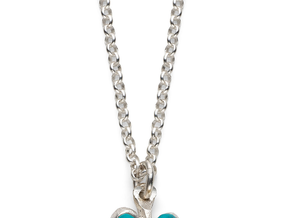 Turquoise Affirmation Heart - Silver