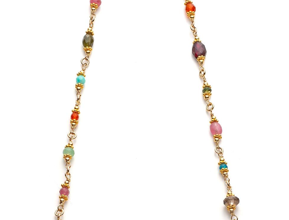 Gold Woven Gemstone Necklace - Rainbow