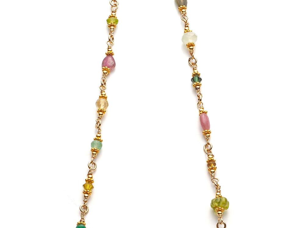 Gold Woven Gemstone Necklace - Pastels