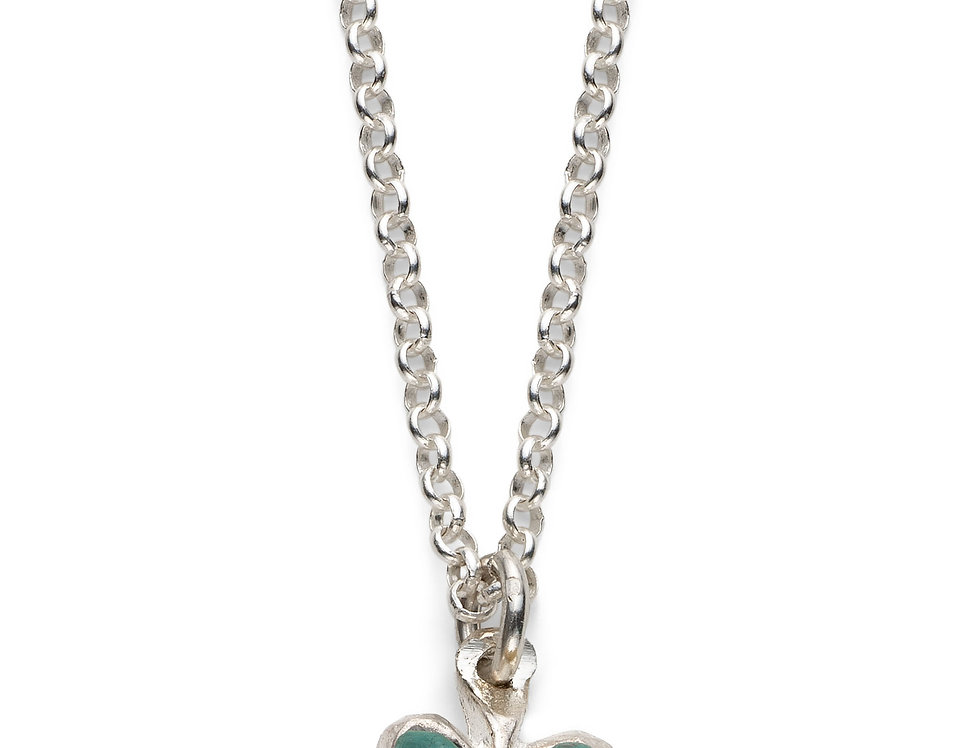 Teal Affirmation Heart - Silver