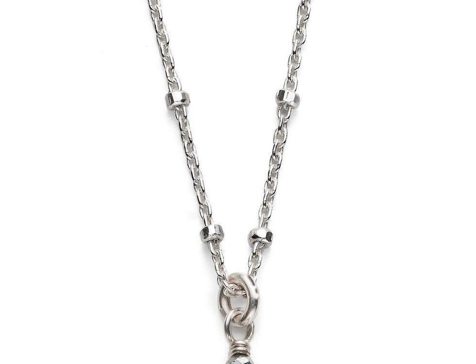 Labradorite and Hematite Silver Satellite Necklace