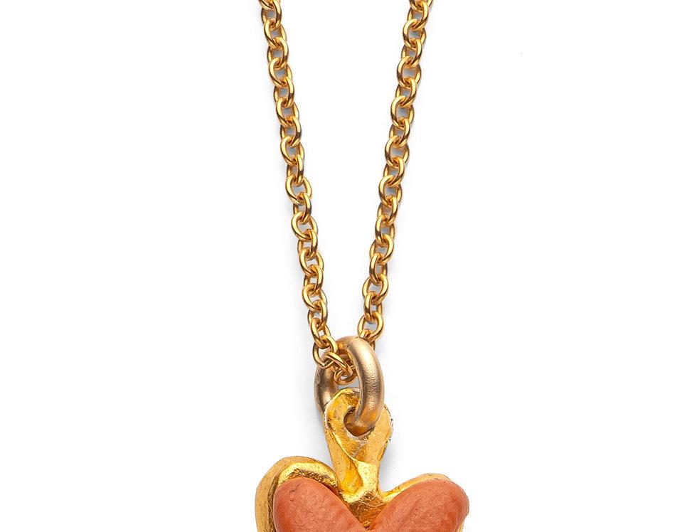 Orange Affirmation Heart - Gold